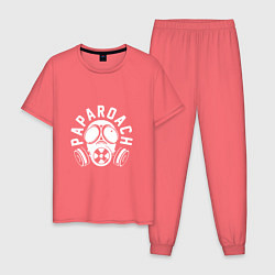 Пижама хлопковая мужская Papa Roach: Biohazard цвета коралловый — фото 1