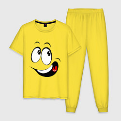 Пижама хлопковая мужская Смайл01 цвета желтый — фото 1