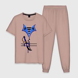 Пижама хлопковая мужская Форма пирата цвета пыльно-розовый — фото 1