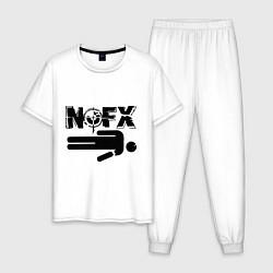 Пижама хлопковая мужская NOFX crushman цвета белый — фото 1