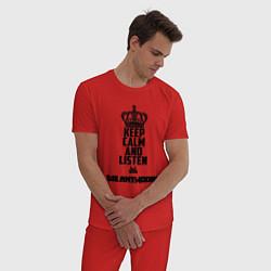 Пижама хлопковая мужская Keep Calm & Listen Die Antwoord цвета красный — фото 2