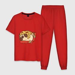 Пижама хлопковая мужская Мопс-пицца цвета красный — фото 1