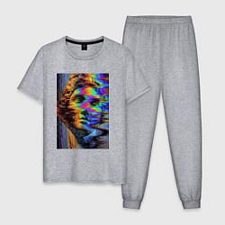 Пижама хлопковая мужская VHS David цвета меланж — фото 1