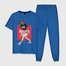 Пижама хлопковая мужская Kendrick Lamar цвета синий — фото 1