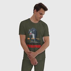 Пижама хлопковая мужская Здравствуй товарищ цвета меланж-хаки — фото 2