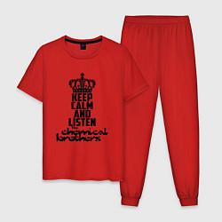 Пижама хлопковая мужская Keep Calm & Listen The Chemical Brothers цвета красный — фото 1