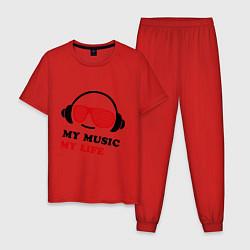 Пижама хлопковая мужская My music my life цвета красный — фото 1