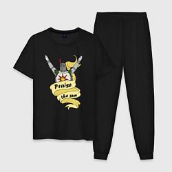 Пижама хлопковая мужская Praise the Sun цвета черный — фото 1