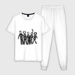 Пижама хлопковая мужская Отбросы-скелеты цвета белый — фото 1