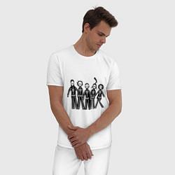 Пижама хлопковая мужская Отбросы-скелеты цвета белый — фото 2