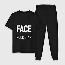 Пижама хлопковая мужская Face Rock Star цвета черный — фото 1
