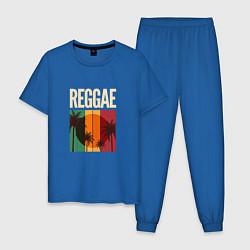 Пижама хлопковая мужская Reggae цвета синий — фото 1