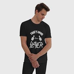 Пижама хлопковая мужская That's Who Loves Slayer цвета черный — фото 2