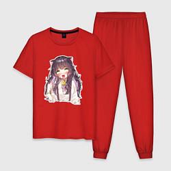 Пижама хлопковая мужская Ahegao Meow цвета красный — фото 1