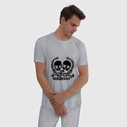 Пижама хлопковая мужская Green Day: 21 Century Breakdown цвета меланж — фото 2