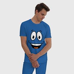 Пижама хлопковая мужская Радостный смайлик цвета синий — фото 2