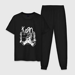 Пижама хлопковая мужская Korn цвета черный — фото 1