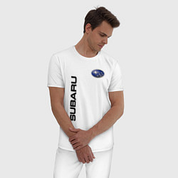 Пижама хлопковая мужская Subaru Style цвета белый — фото 2