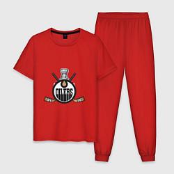 Пижама хлопковая мужская Edmonton Oilers Hockey цвета красный — фото 1
