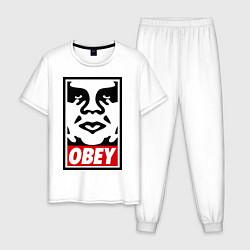Пижама хлопковая мужская OBEY Face цвета белый — фото 1