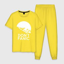 Пижама хлопковая мужская Elon: Don't Panic цвета желтый — фото 1