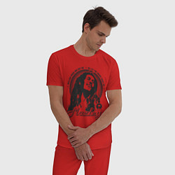 Пижама хлопковая мужская Bob Marley: Island цвета красный — фото 2