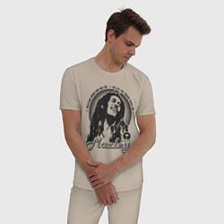 Пижама хлопковая мужская Bob Marley: Island цвета миндальный — фото 2