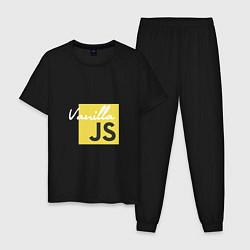 Пижама хлопковая мужская Vanilla JS цвета черный — фото 1