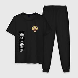 Пижама хлопковая мужская ФСКН с гербом цвета черный — фото 1