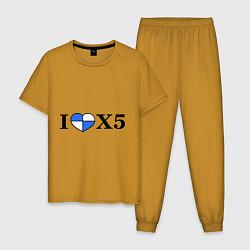 Пижама хлопковая мужская I love x5 цвета горчичный — фото 1