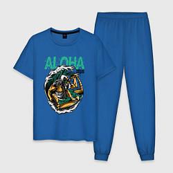 Пижама хлопковая мужская Wild Aloha цвета синий — фото 1