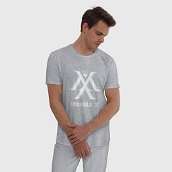 Пижама хлопковая мужская Monsta X цвета меланж — фото 2