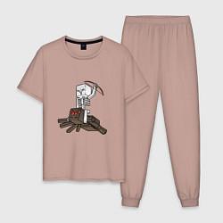 Пижама хлопковая мужская Spider Jockey цвета пыльно-розовый — фото 1