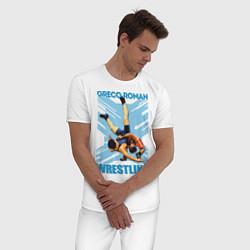 Пижама хлопковая мужская Greco-roman wrestling цвета белый — фото 2