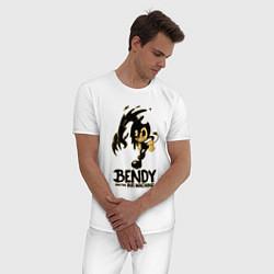 Пижама хлопковая мужская Bendy And the ink machine цвета белый — фото 2