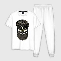Пижама хлопковая мужская Сахарный череп с бородой цвета белый — фото 1
