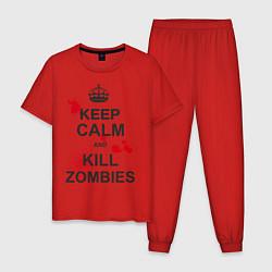 Пижама хлопковая мужская Keep Calm & Kill Zombies цвета красный — фото 1
