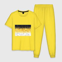 Пижама хлопковая мужская Имперский флаг пикселами цвета желтый — фото 1