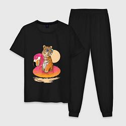 Пижама хлопковая мужская Тигр на фламинго цвета черный — фото 1
