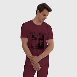 Пижама хлопковая мужская Give Peace a Chance цвета меланж-бордовый — фото 2