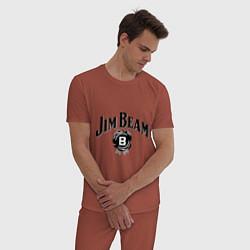 Пижама хлопковая мужская Jim Beam logo цвета кирпичный — фото 2