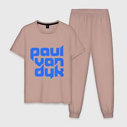 Пижама хлопковая мужская Paul van Dyk: Filled цвета пыльно-розовый — фото 1