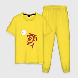 Пижама хлопковая мужская Бездомный бог цвета желтый — фото 1