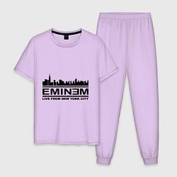 Пижама хлопковая мужская Eminem: Live from NY цвета лаванда — фото 1
