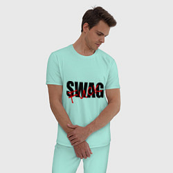 Пижама хлопковая мужская SWAG Fuck цвета мятный — фото 2