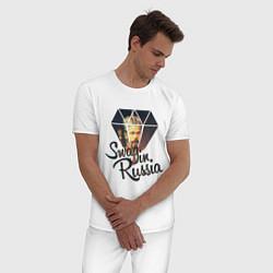 Пижама хлопковая мужская SWAG in Russia цвета белый — фото 2