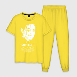 Пижама хлопковая мужская Michael jackson rip 1958-2009 цвета желтый — фото 1