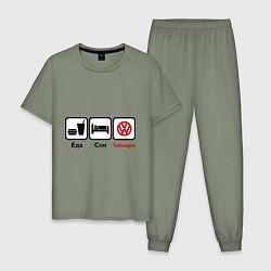Пижама хлопковая мужская Еда, сон и Volkswagen цвета авокадо — фото 1