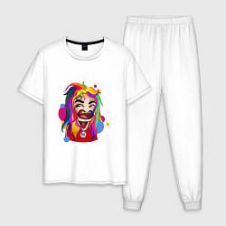 Пижама хлопковая мужская 6IX9INE Colors цвета белый — фото 1