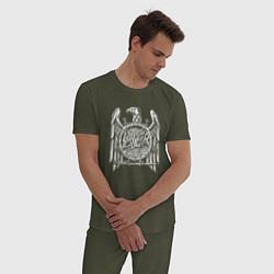 Пижама хлопковая мужская Slayer Eagle цвета меланж-хаки — фото 2